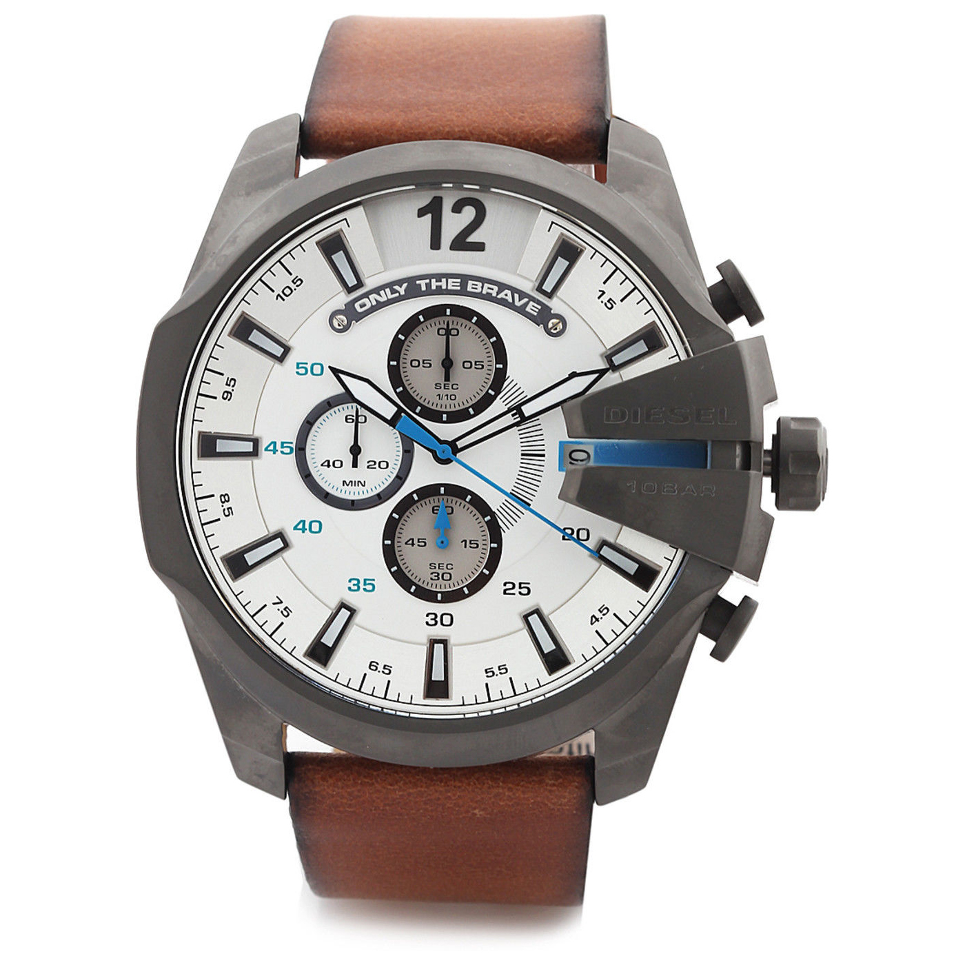 Diesel DZ4280 Chief Series Quartz Brown Strap Gun Metal Casing Analog Mens Watch