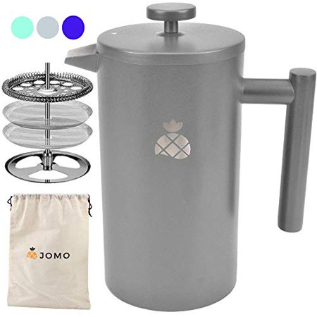 French Press Coffee Maker with Travel Bag by JOMO Double Wall Insulated Stainless Steel for Hotter Coffee and Tea (34 ounce/1 Liter) Classic and Durable Design for the Kitchen Travel and Camping - image 1 of 1