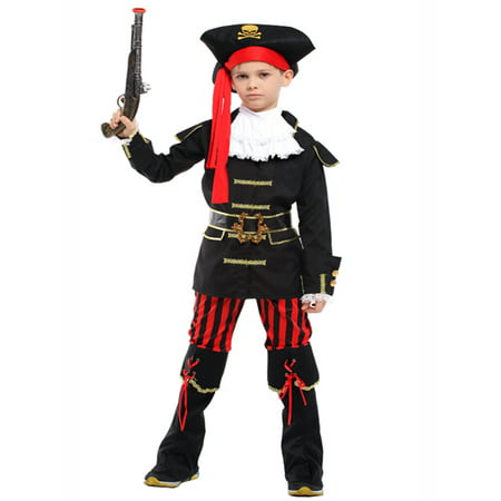 Kid Boys Halloween Costume Cosplay Outfit Themed Birthdays Party (Royal Pirate Captain, L/7-9 Years) - Cosplay Outfit