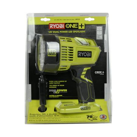 Ryobi Tools P717 18V ONE+ Cordless Dual Power LED Spotlight, Tool (One Spotlight)