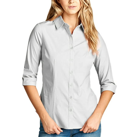 b08e31cf353cd3 KOGMO Womens Classic Solid 3/4 Sleeve Button Down Blouse Dress Shirt