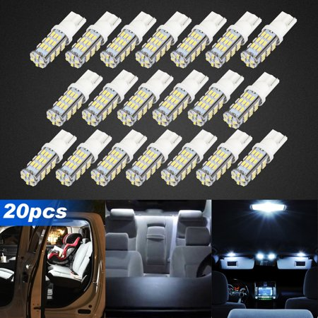 20 Pack T10 LED Bulbs 194 LED Light Bulb 6500K 168 LED Bulb W5W Pure White Wedge Super Bright 42-SMD for License Plate Car Dome Map Door Lights ()