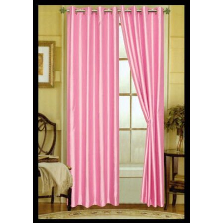 Drop Panel (TWO ROSE BABY PINK faux silk grommet window PANEL curtain dropes treatment 55 x 84