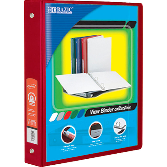 "(Price/Case of 12)Bazic Products 4143-12 1.5"" Red 3-Ring View Binder W/2-Pockets"