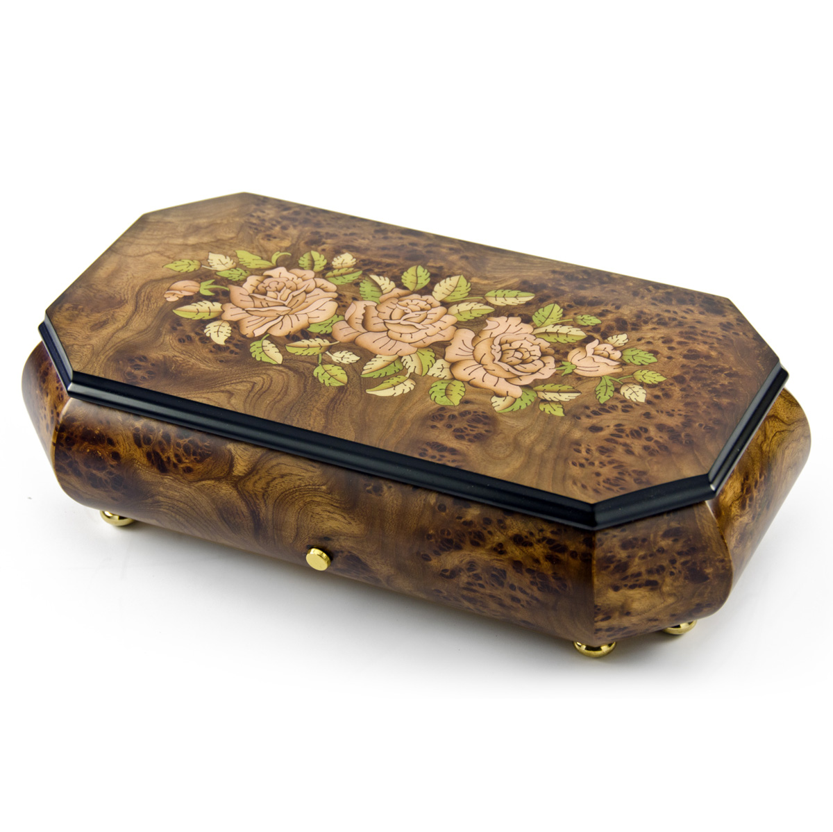 Gorgeous Swiss 36 Note Pink Roses Inlay with Cut Corners Inlay Grand Music Box by MusicBoxAttic
