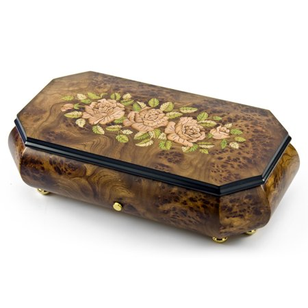 Gorgeous Swiss 36 Note Pink Roses Inlay with Cut Corners Inlay Grand Music Box - Happy Birthday