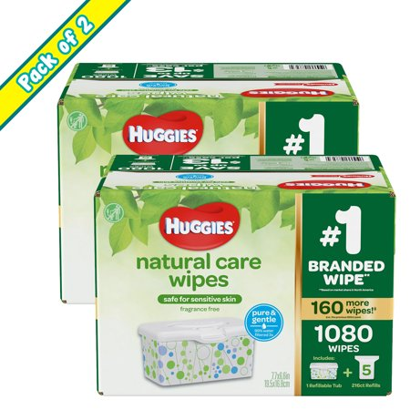 Huggies Natural Care Baby Wipe Refill, Fragrance Free (1,080 ct.) - (PACK OF 2)
