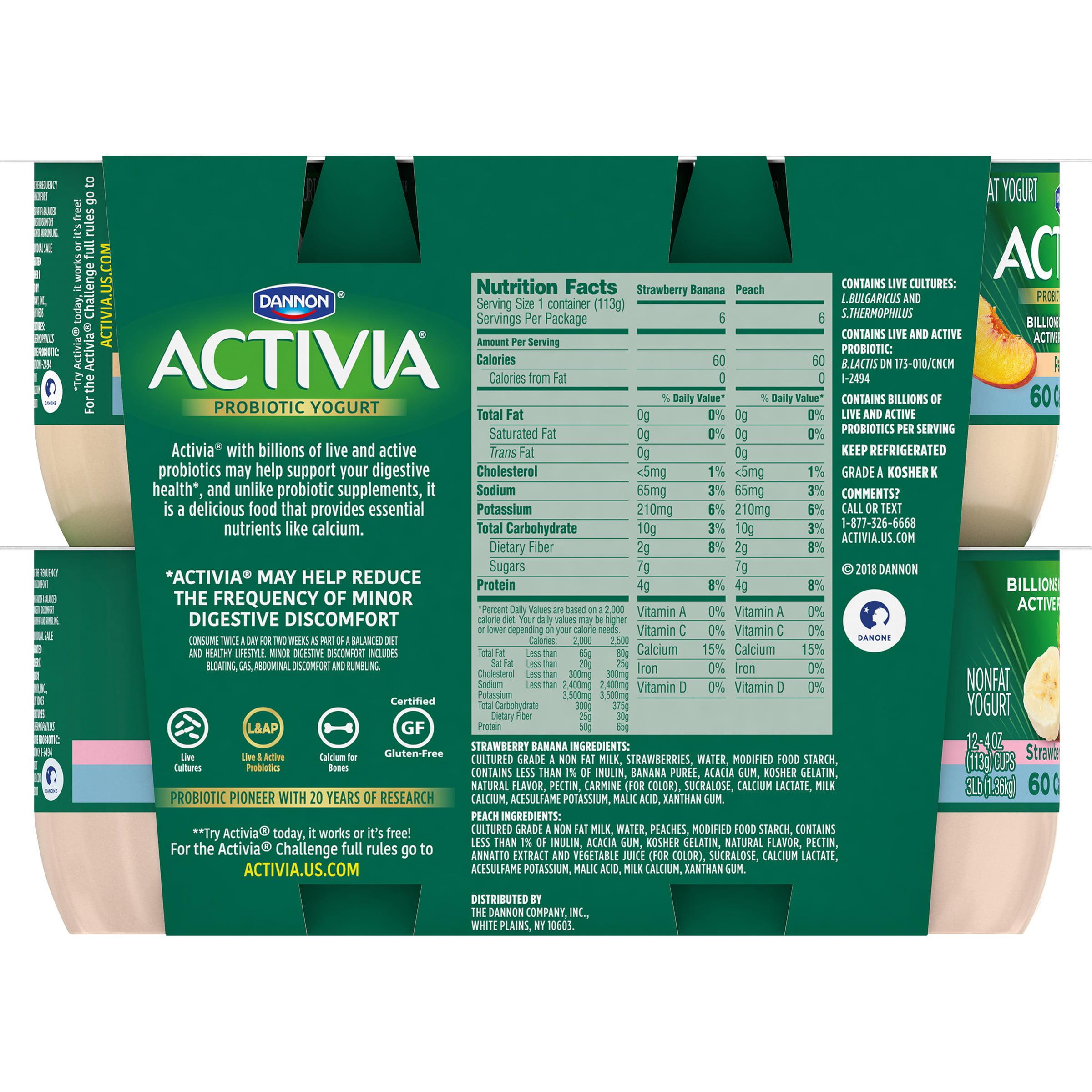 activia light strawberry-banana & peach nonfat yogurt, 4 oz, 12 ct
