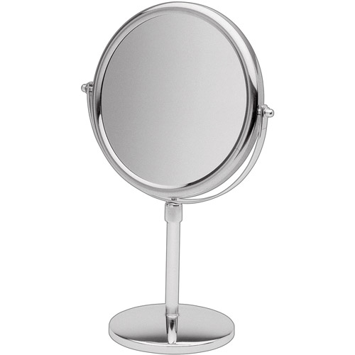 """Jerdon 9"""" Tabletop 2-Sided Swivel Mirror with 5x Magnification, Adjustable Height, Chrome"""