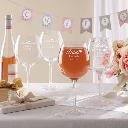 Personalized Wedding Party XL Wine Glass - Bridesmaid Glasses