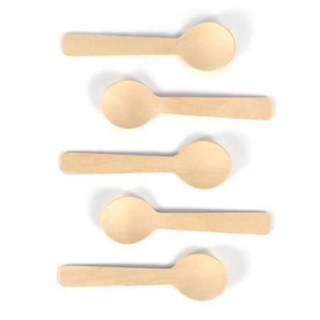 Cream Utensil - Knifun  Wood Spoon, 100pcs 3.93-Inch Disposable Wood Spoons Ice Cream Tea Spoon 10cm Flatware Cutlery  100% Natural Wood Utensils