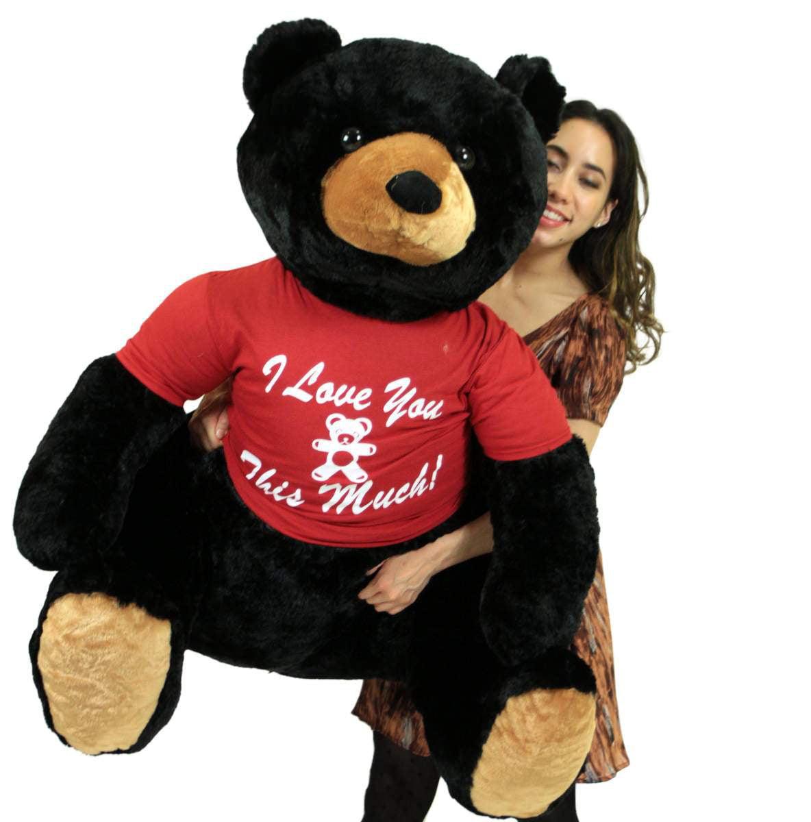 Romantic Life Size Black Teddy Bear, Soft Big Plush Anima...