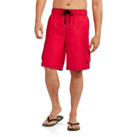 Op Men's Big Elastic Waist Solid Cargo Swim Trunks