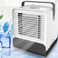 Mini Portable Air Conditioner Fan USB Desktop Air Cooler Office Dormitory Cooling Mobile Fan with LED Lights White/Black