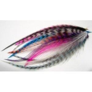 10 Real Feather Mix  Hair Extension 4-5.5 Long Includes 4 Silicone Micro-ring Beads
