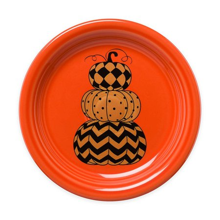 Halloween Geo Pumpkins Appetizer Plate in Orange, Perfect addition to your Halloween décor By Fiesta