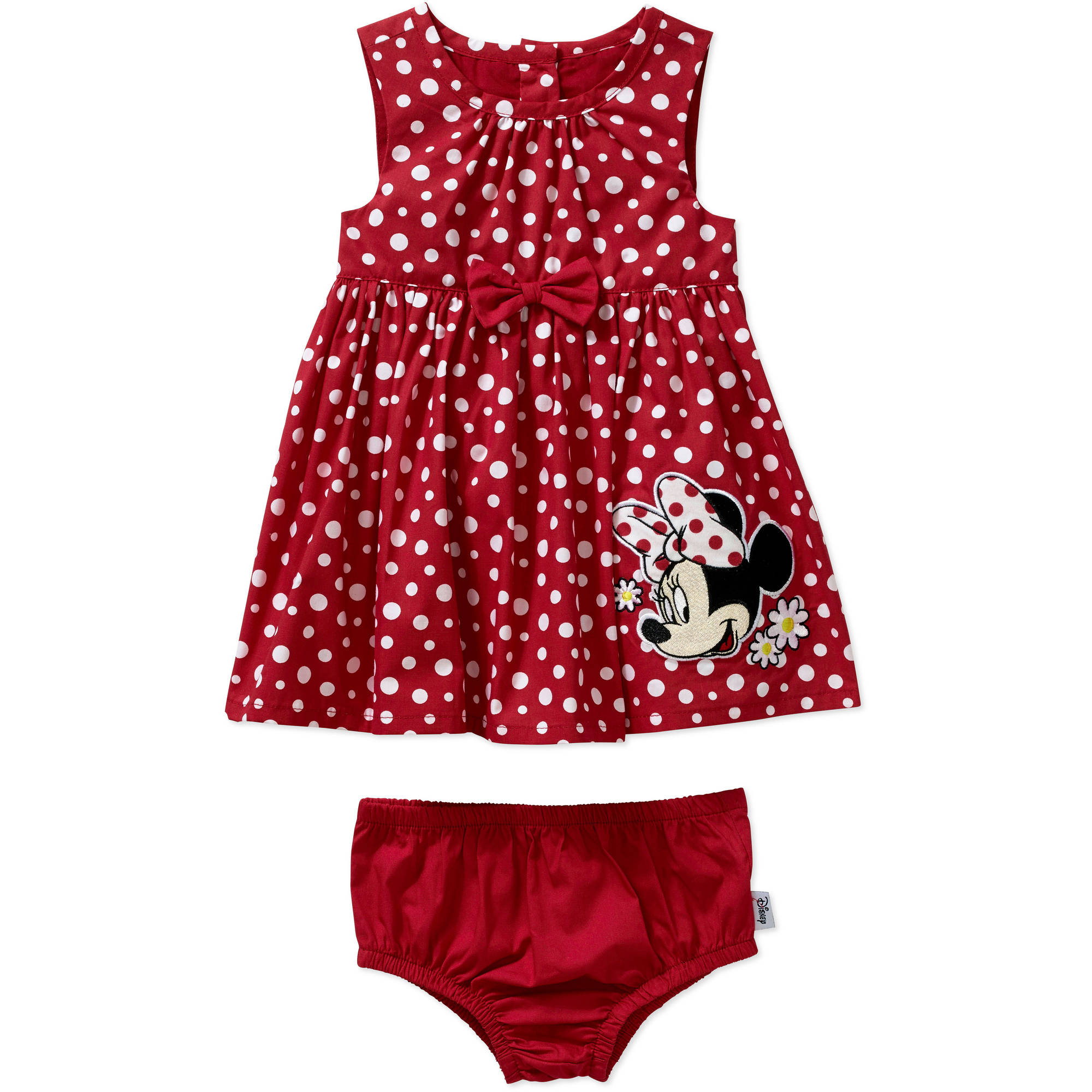 Minnie Mouse Newborn Baby Girl Woven Sundress & Bloomers 2 Pc Set
