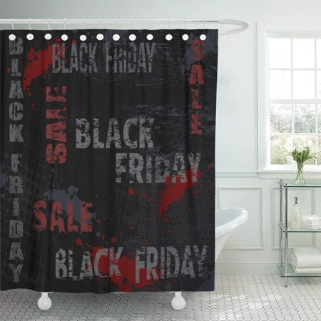 ARTJIA Red Abstract Black Friday Sale Typographic Design with Grunge Scratched Day Deal Dirty Discount Shower Curtain 60x72 inch