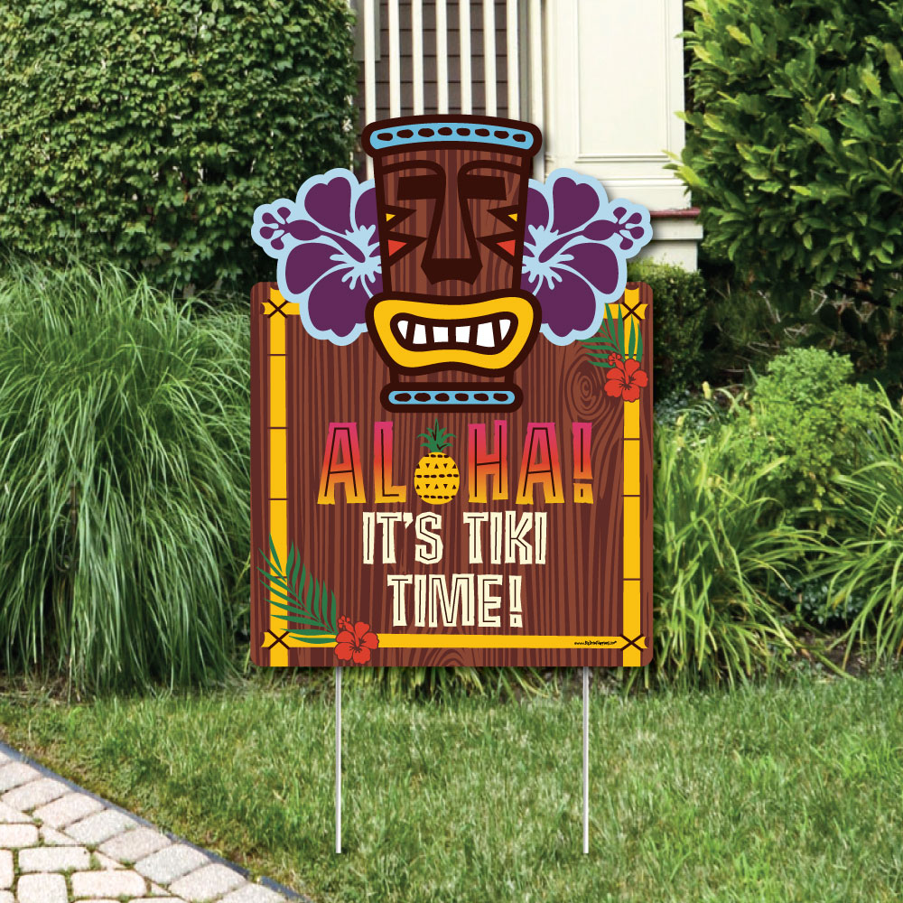 Tiki Luau - Party Decorations - Tropical Hawaiian Summer Party Welcome Yard Sign
