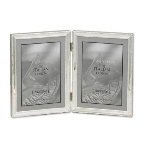 Lawrence Frames 11657D Lawrence Frames Polished Silver Plate 5x7 Hinged Double Picture Frame - Bead Border Design