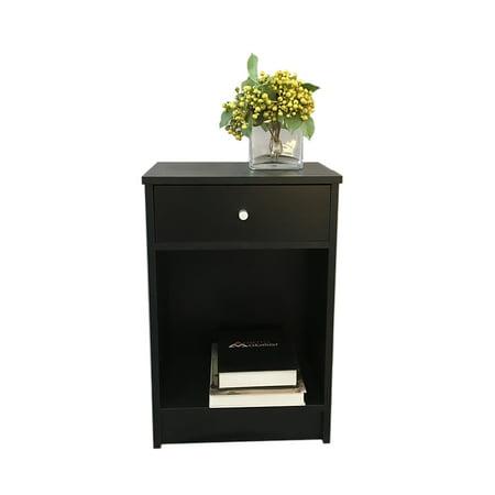 FCH UBesGoo Nightstand Table Versatile Bedside Storage Shelf 1 Drawer & Cabinet End Bedroom ()