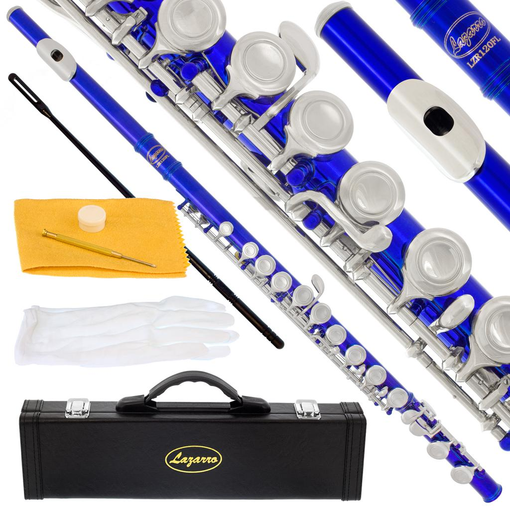 Lazarro 120-BU Professional Royal Blue-Silver Closed Hole C Flute with Case, Care Kit-Great for Band, Orchestra,Schools