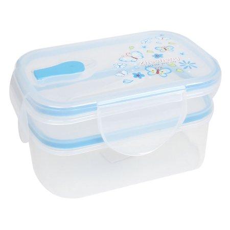 Unique Bargains Rectangle Shape Double Layer Blue Clear Lunch Box Case Container Crisper