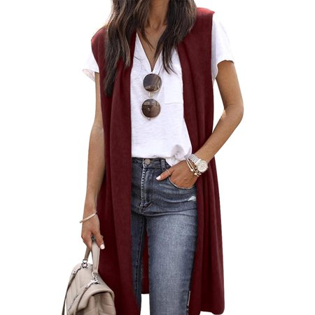 HomeTop Women Sleeveless Open Front Knited Vest Cardigan Casual Coat