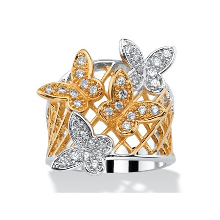 .48 TCW Pave Cubic Zirconia Two-Tone Butterfly Latticework Ring 18k Gold-Plated