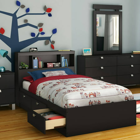 South Shore Spark 3-Drawer Storage Bed, Twin, Black, With Bookcase Headboard