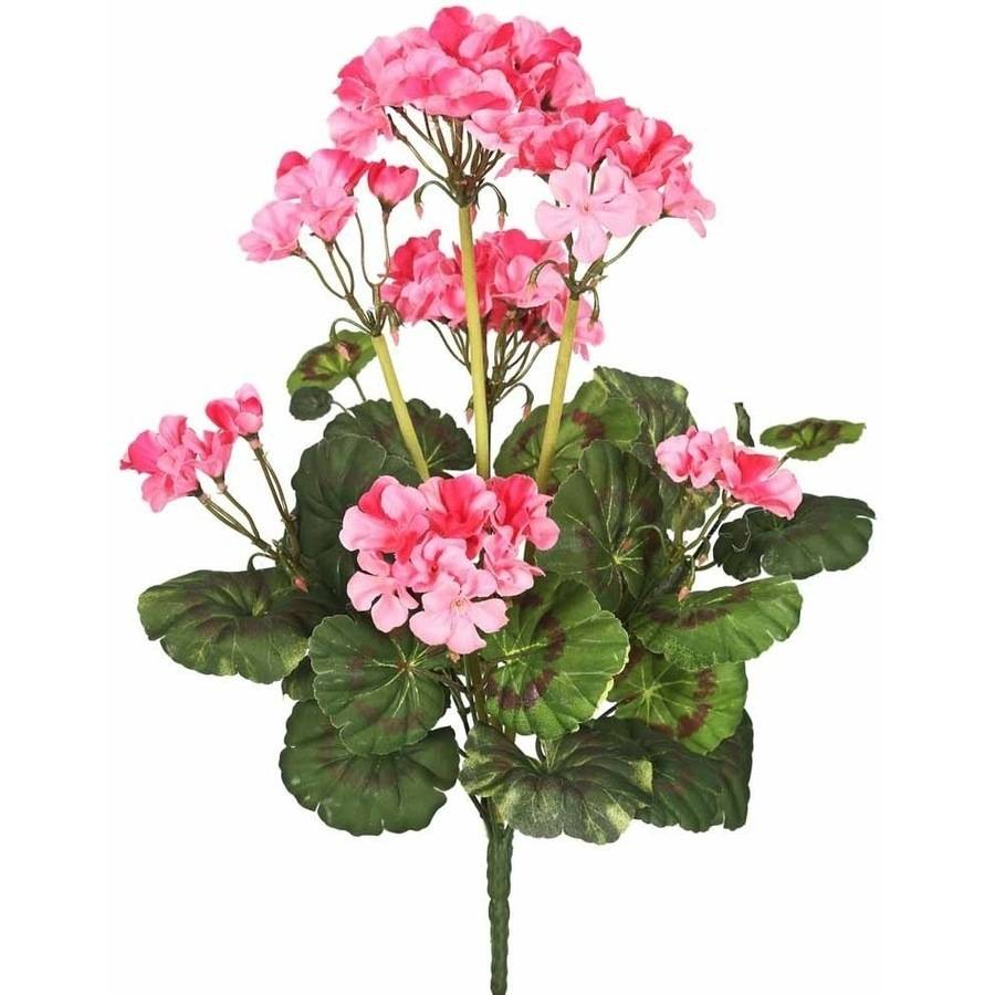 "Vickerman 20"" Artificial Pink Geranium Bush Featuring 9 Blossoms"