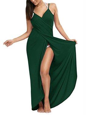 SAYFUT Women's Sexy Deep V-Neckline Bikini Wrap Swimsuit Cover Up Backless Long Beach Dress Plus Size Solid Color Black/Deep Gray/Pink L-5XL