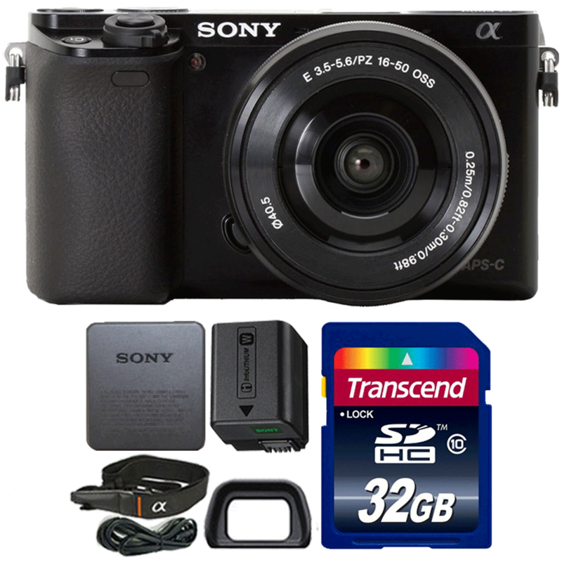 Sony Alpha A6000 Mirrorless Digital Camera Black with 16-50mm Lens and 32GB Memory Card