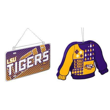 NCAA LSU Tigers Metal License Plate Christmas Ornament Foam Ugly Sweater Bundle 2 Pack By Forever Collectibles