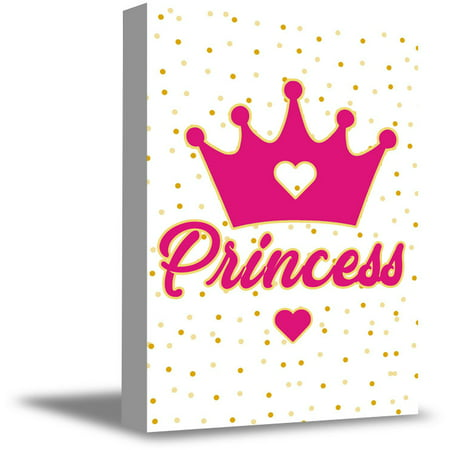 Awkward Styles Princess Crown Illustration Girls Room Wall Art Pink Decals Baby Girl Room Decor Baby Girl Room Decorations Princess's Room Girls Play Room Wall Decor Pink Canvas Decor Ideas ()
