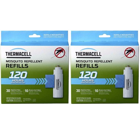 ThermaCELL Mega Refill Packs (R-10): 60 Mats and 20 Butane Cartridges (2 Pack) The Thermacell Mosquito Repeller Refill will refuel the system that effectively repels mosquitoes, black flies, and other biting insects by creating a 15 x 15-foot Zone of Protection for bug-free comfort. Ideal for use while you are camping, hunting, fishing, gardening or around the backyard.Plus, Thermacell products have been evaluated by the EPA for safety and effectiveness.Perfect for the OutdoorsThe Thermacell Mosquito Repeller Refill will refuel the system that effectively repels mosquitoes, black flies, and other biting insects. Ideal for use while you are camping, hunting, fishing, gardening or around the backyard.Each original mat provides up to 4 hours of repellencyRefills work with all Thermacell repeller devices (Repellers, Lanterns, and Torches)Works for hours to keep you enjoying the outdoorsCreates a 15 x 15-foot Zone of Protection for bug-free comfortIdeal for camping, hunting, fishing, gardening or around the backyard