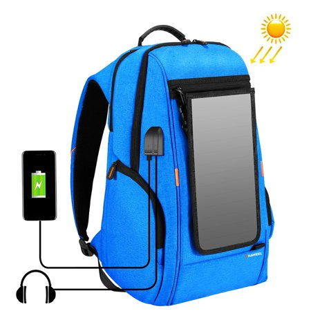 Outdoor Charging Backpack with USB Port Waterproof Breathable Travel Bag Wear-resisting Anti-theft Backpack with Solar Panel