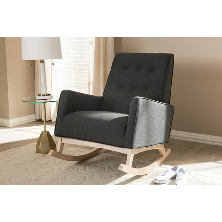 Baxton Studio Marlena Mid-Century Modern Dark Grey Fabric Upholstered Whitewash Wood Rocking Chair