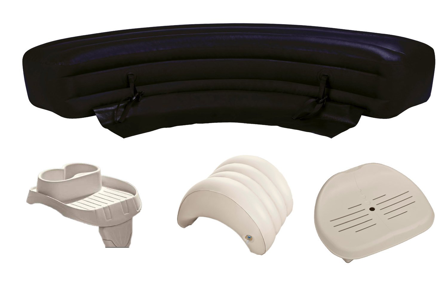 Intex PureSpa Hot Tub Accessories Package Headrest, Bench, Seat, and Cupholder by