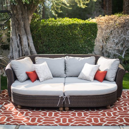 Belham Living Polanco Curved Back All Weather Wicker Sofa Daybed Sectional ()