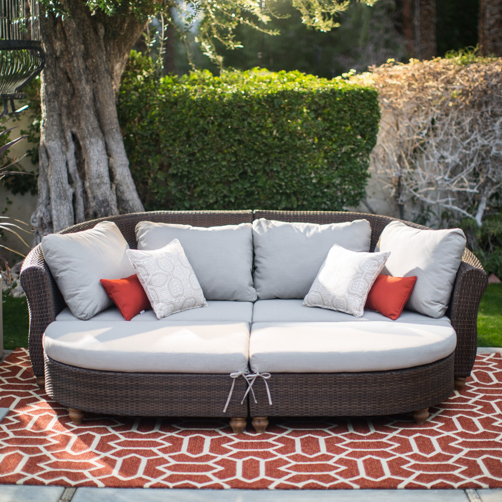 Belham Living Polanco Curved Back All Weather Wicker Sofa Daybed Sectional