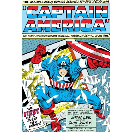 Marvel Comics Retro: Captain America Comic Panel; Smashing through Window; Red, White and Blue Print Wall Art](Retro 12 Red And White)