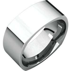 18K White 8mm Square Comfort Fit Band
