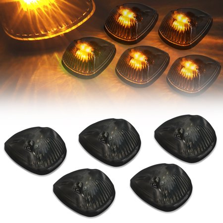 For 1994 to 1998 Dodge Ram 1500 2500 3500 BR 5 X LED Cab Roof Top Lights (Smoked Housing Yellow LED) 95 96 97