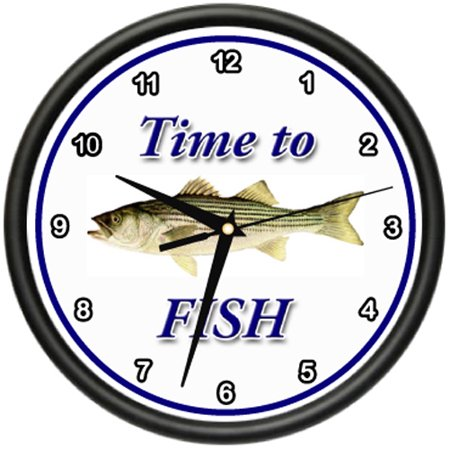 TIME TO FISH STRIPED BASS Wall Clock fisher fisherman boat bass gift