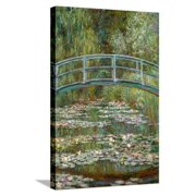 Bridge over a Pond of Water Lilies Stretched Canvas Print Wall Art By Claude Monet