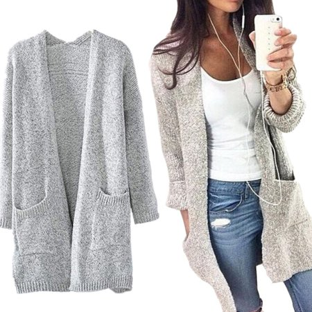 - Women Fashion Cotton Blend Long Sleeve Oversized Loose Knitted Sweater Jumper Cardigan Outwear Coat Gray