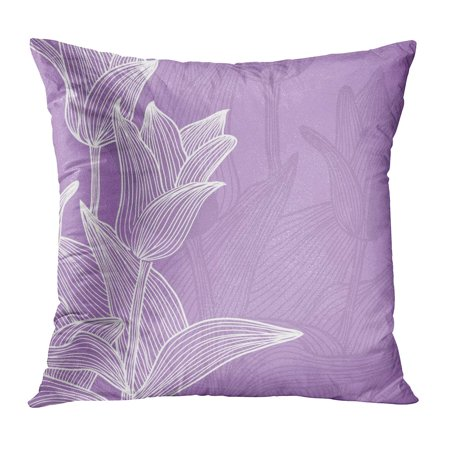 Wedding Anniversary Colors (ECCOT Birthday Floral for Life Events Place in Violet White Colors Wedding Abstract Anniversary Announcement Pillow Case Pillow Cover 16x16)