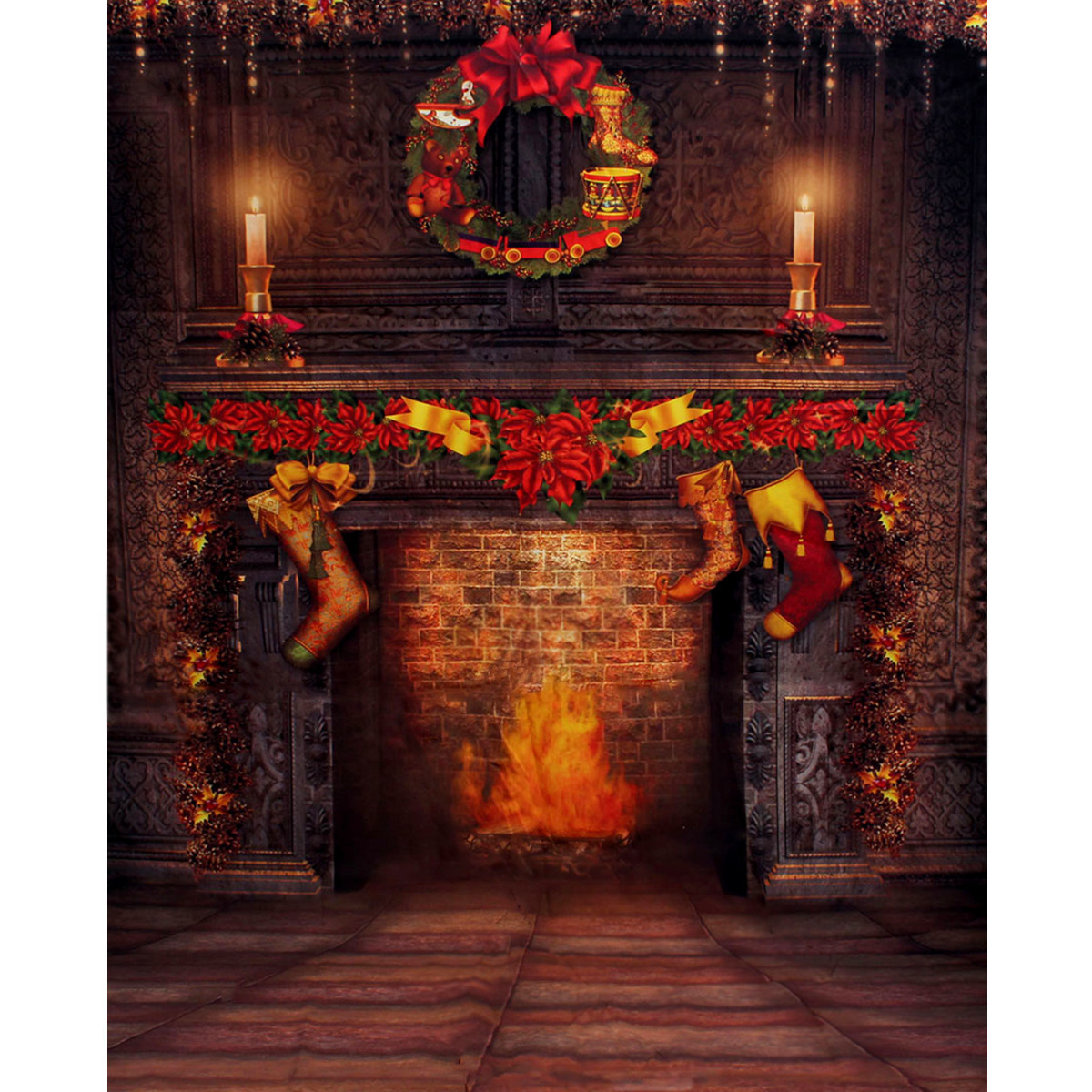 5x7FT Fireplace  Christmas Photography Backdrop Photo Studio Props Background
