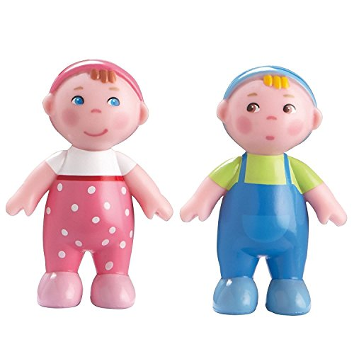 "2 Piece Set Haba Little Friends Babies Marie /& Max 2.5/"" Twin Bendy Figures"
